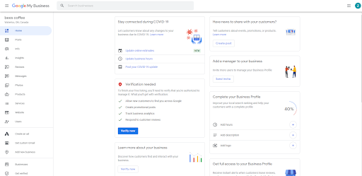You're done and this is your google my business dashboard