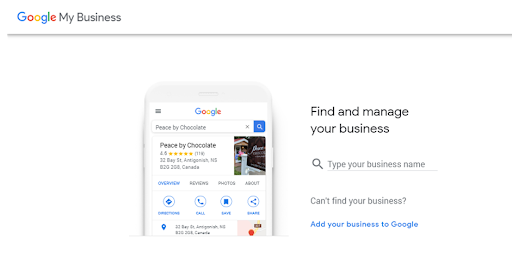 Type in your business name for google my business set up