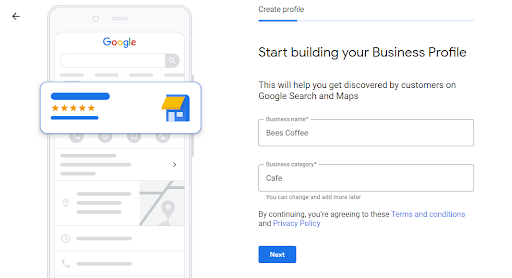 start building your Google My business profile