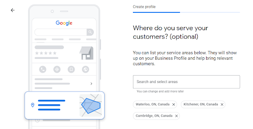 Where do you service your customers, Google My Business setting
