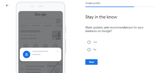 You can sign up for updates and recommendation for your business on google