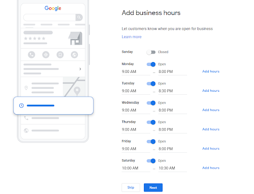 Add Google My Business hours