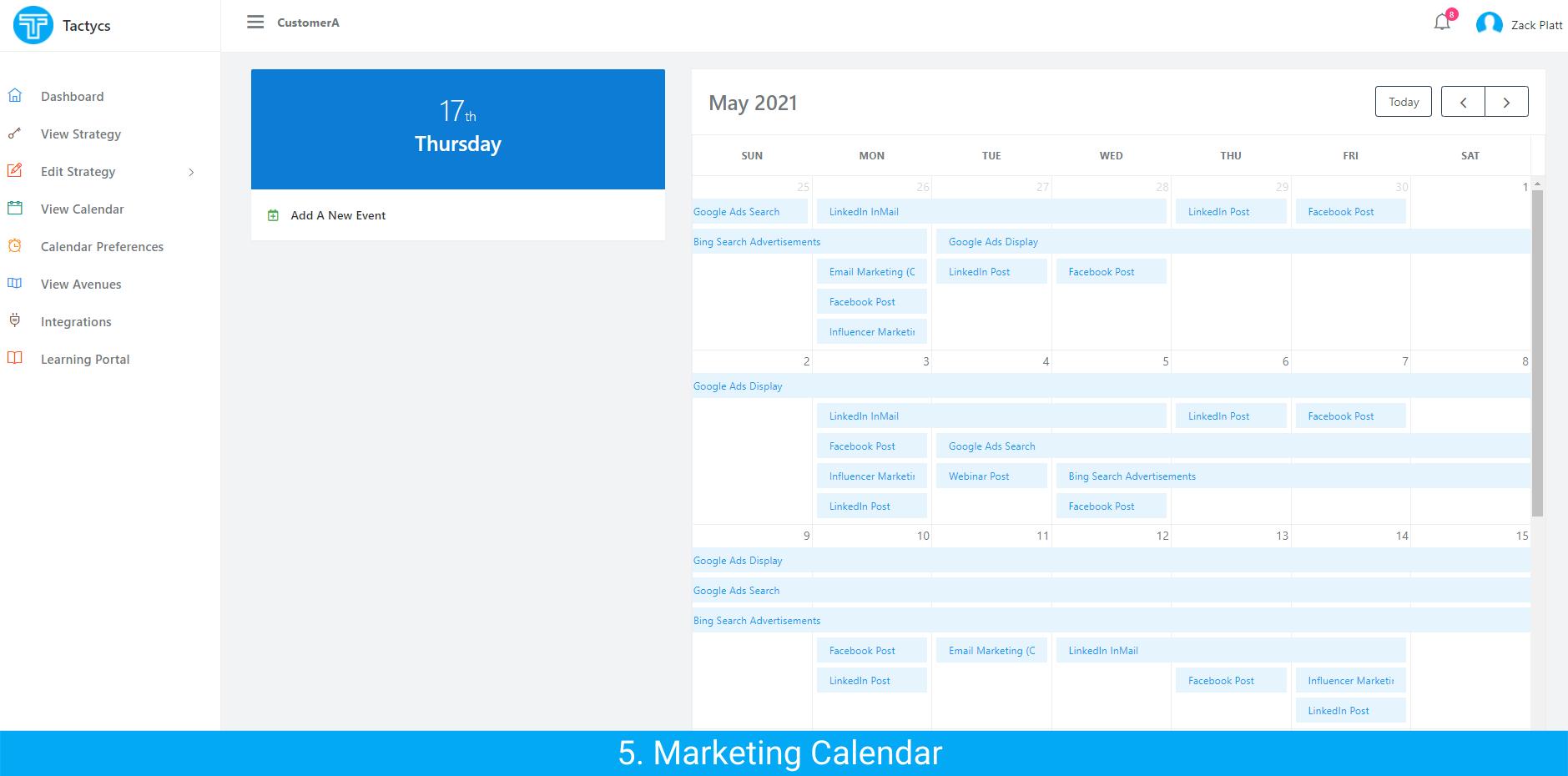 Tactycs Marketing Calendar Example