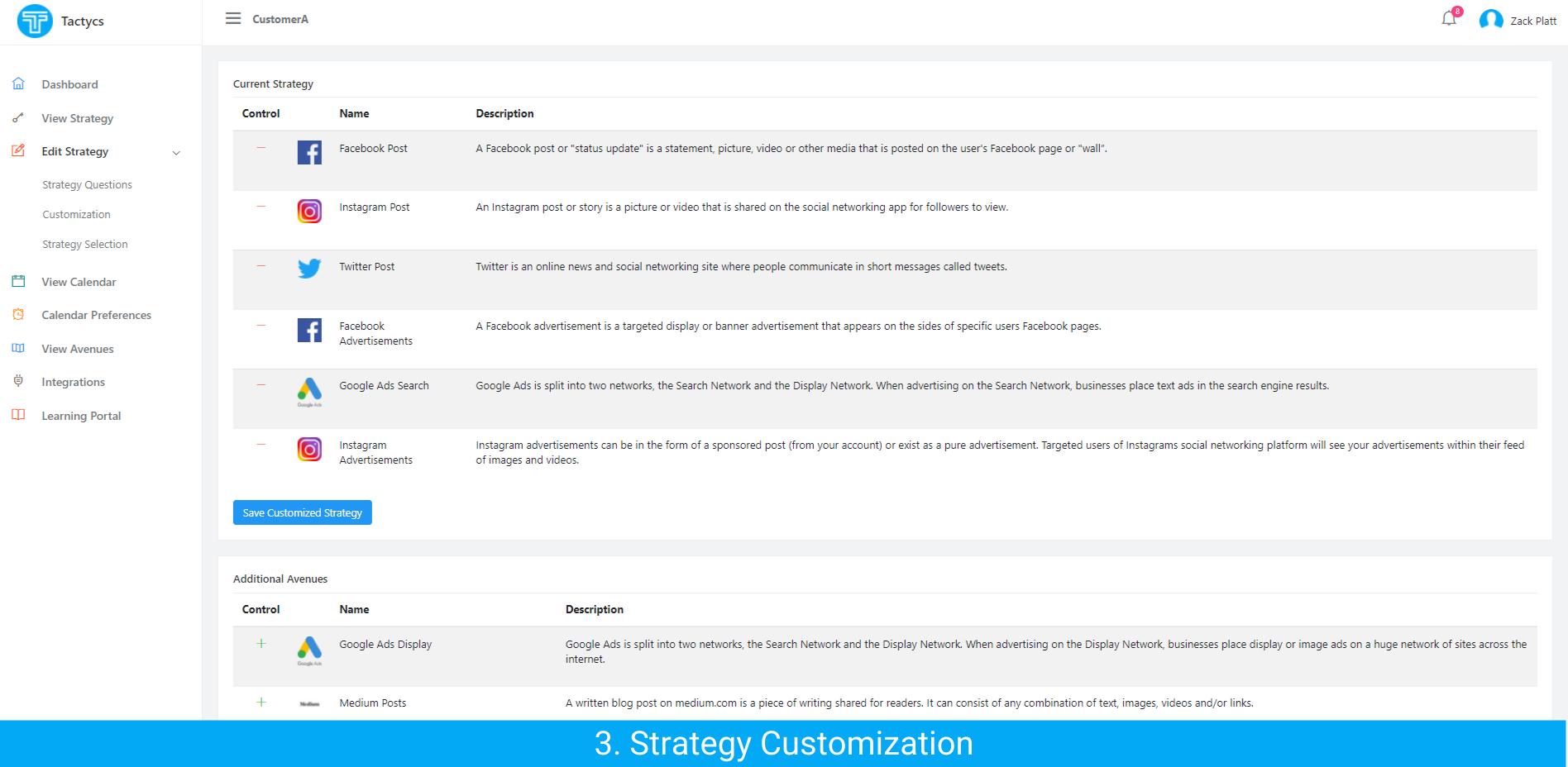 Tactycs Strategy Customization